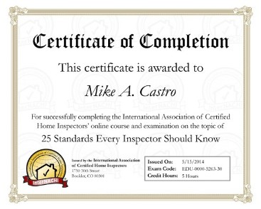 My Standards of Practice Certification.